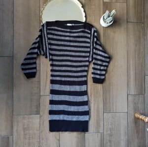Lucca Couture knit striped sweater dress Gray S